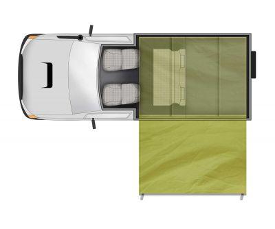 4WD Camper Overlander von Apollo Australien, Grundriss mit Zelt