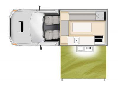 4WD Adventure Camper von Cheapa Campa Australien, Grundriss Tag