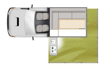 4WD Camper Trailfinder von Cheapa Campa Australien, Grundriss Tag