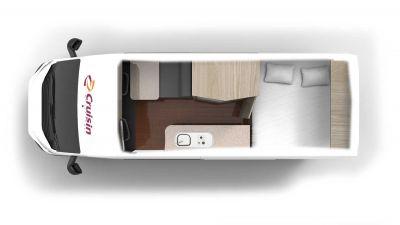 Grundriss des Kompaktcampers Sandpiper von Cruisin Motorhomes Australien