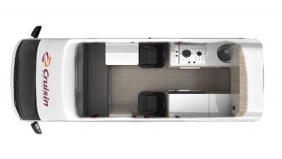 4-Bett-Kompaktcamper Hitop von Cruisin Australien, Grundriss Tag