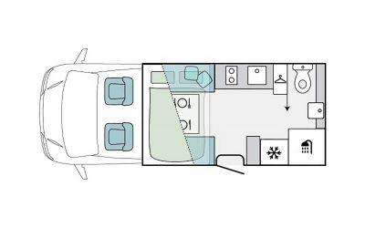Grundriss des 2-Bett-Campers Jayco Voyager Deluxe von LetsGo