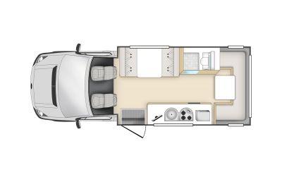 6-Bett Motorhome Hercules mit Alkoven von Star RV Australien, Grundriss Tag