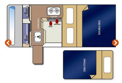 Travellers Autobarn Budget Camper Grundriss