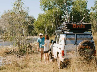 Stopp im Britz Safari 4WD Rooftop Camper Australien