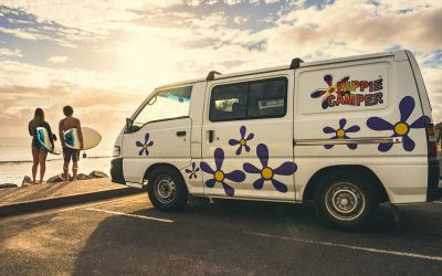 Zu den Surf-Spots mit dem Camper Drift von Hippie Camper Australien